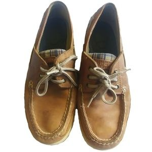 Sperry Top Sider Leather Brown & Plaid Loafer 7.5